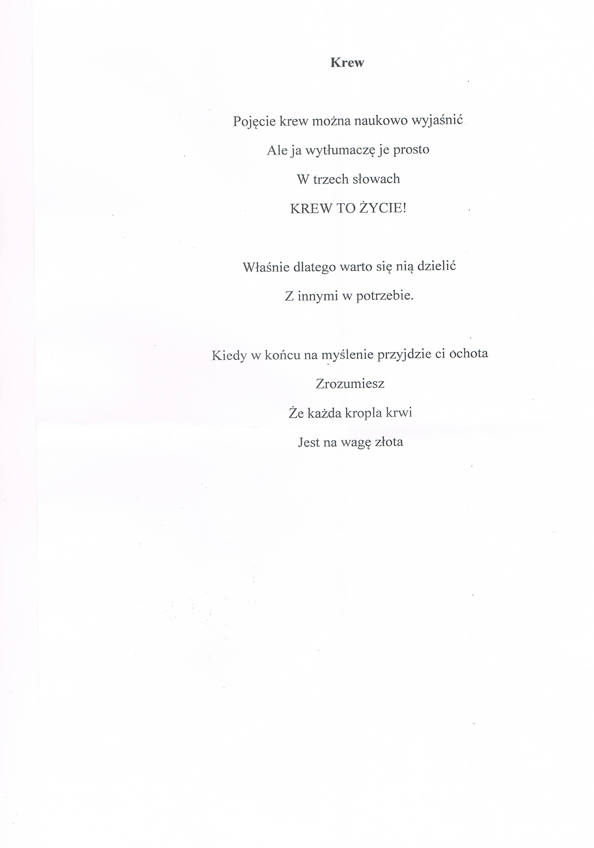 Wiersze Z Konkursu Młodzi Piszą Wiersze Gminny Klub